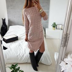 knit dress Chic Outfits, Fall Outfits, Fashion Outfits, Womens Fashion, Long Sweater Dress, Knit Dress, Knit Patterns, Baby Knitting, Knitwear