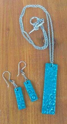 ecc35dc86 Necklace with teal polymer clay pendant and matching dangling earrings  Polymer Clay Pendant, Dangle Earrings