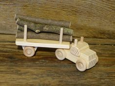 Handmade Wood Toy Log Truck Wooden Toys Eco by OutOnALimbADK