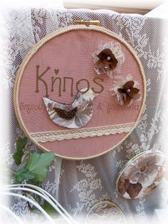embroidery hoop , vintage romantic wedding and baptism decoration , lace , bird , floral , pearls , fabric flower , pink .