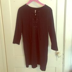 Free People Dress All Laced Up shift dress by Free People in black (picture in brown is to show the dress on). Never worn. Free People Dresses