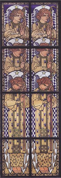 Angel stained glass window drawing by Koloman Moser for the left side window in the Church at Steinhof, Vienna, 1905