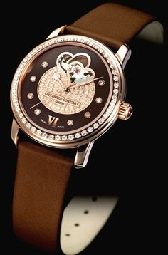 frederique constant, chocolate double heart beat womens watch