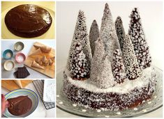 Forest of snow-covered fir trees chocolate-brown - Coralie Stoll - - Forêt de sapins enneigés marrons-chocolat chestnut tree forest fir christmas tree The Christmas log revisited Forest of snow-covered fir trees chocolate chestnuts - Christmas Log, Christmas Treats, Christmas Cookies, Chestnut Cake Recipe, Torte Recipe, Italian Pastries, Fun Deserts, Candy Cakes, Holiday Cakes
