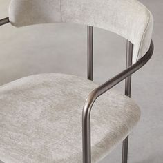 Defined by the elegant curve of its rounded back, our Lenox Chair is trimmed neatly in a slim steel frame for an airy feel and art deco sensibility. Each chair is upholstered and welded by hand. Upholstered Dining Chairs, Dining Room Chairs, Kitchen Counter Stools, Mid Century Dining, Luxury Furniture, Bedding Shop, Upholstery, House Design, Interior