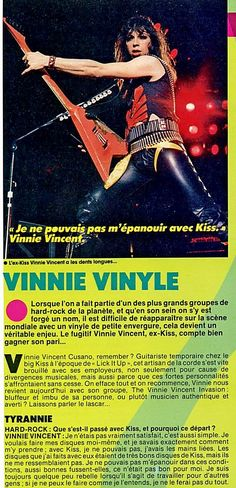 Hard Rock, Vinnie Vincent, Heavy Metal Bands, Movie Posters, Film Poster, Metal Music Bands, Billboard, Film Posters, Hard Rock Music