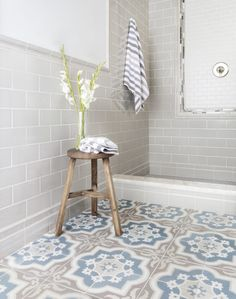 Modern farmhouse tile: encaustics and patterns featured: villandry azure, imperial oatmeal gloss, Best Bathroom Flooring, Bathroom Floor Tiles, Wall And Floor Tiles, Downstairs Bathroom, Master Bathroom, Wall Tile, Mosaic Bathroom, Modern Floor Tiles, Bathroom Marble