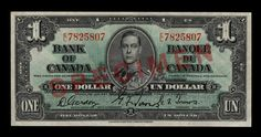 Bank of Canada Dollar, 1937 - Image courtesy of the Bank of Canada | #banknote #money