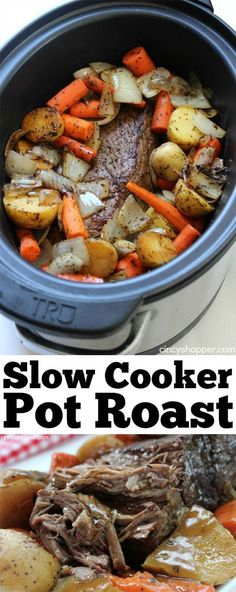 Slow Cooker Pot Roast - Crock pot recipes - Slow Cooker Pot Roast -Roast loaded with potatoes, carrots, and onions is an easy Crock-pot idea that makes for a filling meal. Juicy meat with incredible flavors. Crockpot Dishes, Crock Pot Slow Cooker, Crock Pot Cooking, Slow Cooker Recipes, Easy Crockpot Roast, Potatoes Crockpot, Slow Cooker Roast Beef, Rump Roast Crock Pot, Roast With Potatoes And Carrots