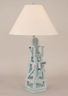Blue Gray Lifeguard Chair Lamp