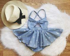 Sassy little chambray dress for baby girls! Cute Baby Girl Outfits, Kids Outfits Girls, Baby Girl Dresses, Baby Dress, Cute Outfits, Baby Girls, Toddler Girls, Baby Girl Fashion, Kids Fashion