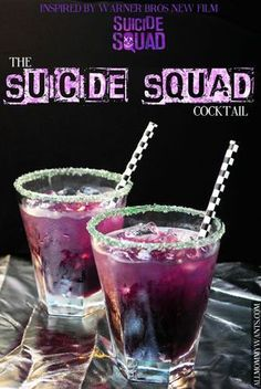 Cocktail - The Suicide Squad! Schnapps, Rum, and more! Non Alcoholic Drinks, Bar Drinks, Cocktail Drinks, Beverages, Bourbon Drinks, Disney Cocktails, Halloween Cocktails, Alcholic Halloween Drinks, Halloween Shots