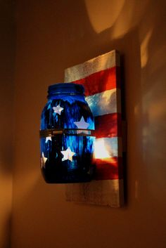 Patriotic Mason Jar Candle Sconce — Weekend Craft