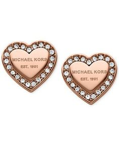 Michael Kors Crystal Heart Stud Earrings