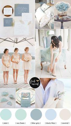 Blue grey,Dusty blue,Mint,Sea Foam and Neutral beach wedding inspiration | fabmood.com