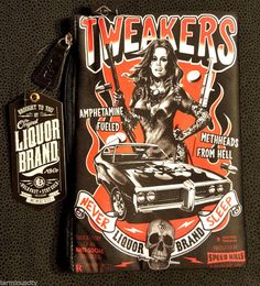 ***FREE U.S. SHIPPING*** #LiquorBrandCosmeticBag #Tweakers #MethHeadsFromHell #Tattoos #MuscleCars #Guns #Skulls #Flames #Punk #NWT #LiquorBrand #Switchblade