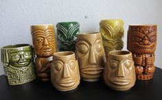 Tiki Mug Collection, Hawaii, mid century modern Tropical Kitchen, Tropical Decor, Tiki Hawaii, Bamboo Bar, Tiki Lounge, Tiki Art, Vintage Tiki, Hawaii Homes, Googie