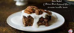 Vegan Oven Baked Pecan Pear Oat Pie with Vanilla Sauce