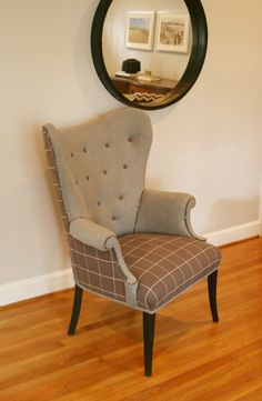 gray mid-century wing-back chair