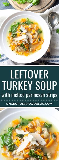 Leftover Turkey Soup with Melted Parmesan Strips Use up leftover turkey in this cosy, nourishing soup. Paleo and gluten free, this quick to make soup is perfect for cold winter days. Leftover Chicken Soup, Leftover Turkey Recipes, Leftovers Recipes, Easy Dinner Recipes, Holiday Recipes, Best Soup Recipes, Healthy Recipes, Meal Recipes, Drink Recipes