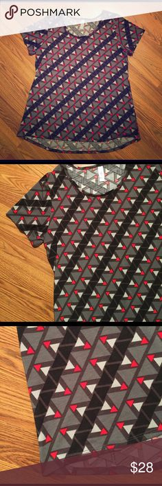 Lularoe classic tee Super cute geometric pattern classic T-shirt. Red black and gray triangle pattern. Only worn a few times. And washed per LLR instructions LuLaRoe Tops Tees - Short Sleeve