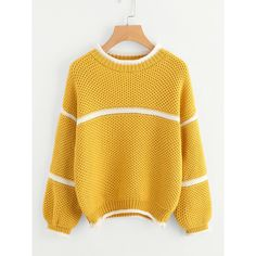 Waffle Knit Lantern Sleeve Striped Sweater (17 BRL) ❤ liked on Polyvore featuring tops, sweaters, yellow sweater, multi stripe sweater, waffle weave sweater, yellow striped top and striped top