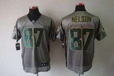 """$26.88 at """"MaryJersey""""(maryjerseyelway@gmail.com) Nike Packers #87 Jordy Nelson Grey Shadow Men's Embroidered NFL Elite Jersey"""