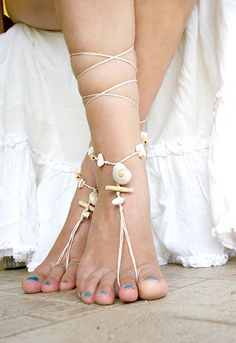 Barefoot sandals beaded with seashell and driftwood by MarryG, $19.00
