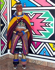Esther Mahlangu will paint two mural-scale works, which will serve as a gateway to the museum's African Art Gallery. African Artists, African Tribes, African Beauty, African Fashion, Afrique Art, African Textiles, Thinking Day, African Culture, African Design