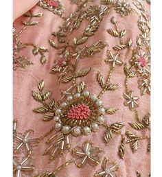 The devil is in the details.Gown in peach brings summer hues having dainty zardosi work with pearl details and prominent mirror neckline . Now available at our Flagship Store at . For further details DM us or Whatsapp us on 95371 65033 . Wedding Embroidery, Hand Work Embroidery, Couture Embroidery, Embroidery Suits, Embroidery Fashion, Hand Embroidery Designs, Embroidery Patterns, Zardosi Embroidery, Beaded Embroidery