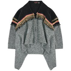 Polyamide and wool knit Comfortable loose fit Crew neck Long sleeves Gathered cuffs Snap buttons on the front Fancy fringes - 75,00 €