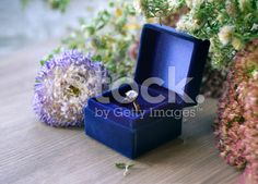Vintage gold diamond engagement ring in blue velvet box royalty-free stock photo