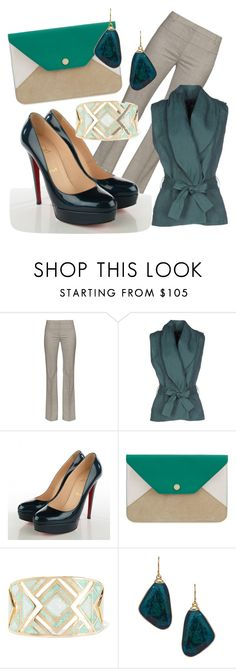 """""""Pantsuit"""" by cherryoblossom ❤ liked on Polyvore featuring Altuzarra, Manila Grace, Christian Louboutin, Maje, Noir Jewelry, Janna Conner Designs and thepantsuit"""