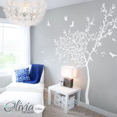 Accento di muro bianco vivaio albero murale adesivo decalcomania-NT042