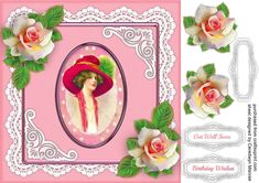 Vintage Lady with Pink Roses 3 by Ceredwyn Macrae A lovely card for the ladies with a beautiful vintage lady and Pink roses in a lace frame…