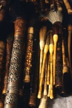 Antique Chinese calligraphy brushes