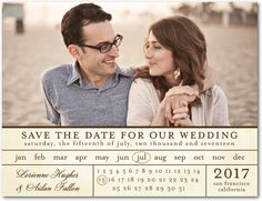 Chic Calendar - Save The Date Postcard in Eggshell | Magnolia Press