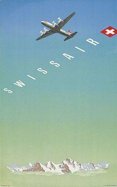 Swissair 1948 -- GRAINY GRADIENT -- colors -- pop of red