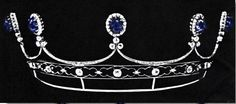 A Yusupov tiara that it's speculated was made after the Russian Revolution. Designed as a series of five cabochon sapphires, surrounded by circular diamonds, with trefoil motifs beneath, on an open-work band. Sold in 1971, it's current whereabouts is unknown. Image courtesy of Royal Magazin.