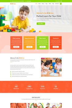 Kids Care - Children We develop a outstanding, professional-looking preschool websites with forms, maps, and picture galleries plus more. School Website Templates, Template Site, Website Design Layout, Website Design Inspiration, Web Layout, Design Ideas, Learning Websites For Kids, Preschool Websites, Web Design School