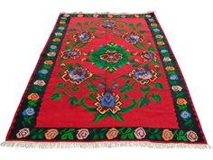 Turkish Hand-Woven Wool Kilim Rug - 5′3″ × 7′5″ on Chairish.com