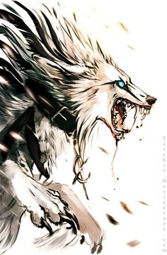 Its a Wolf i guess Fantasy Wolf, Fantasy Art, Fuchs Tattoo, Werewolf Art, Vampires And Werewolves, Wolf Pictures, Anime Wolf, Anime Animals, Creature Design