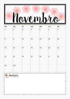 Planner novembro, calendário, calendário mensal, calendário semanal, planner download