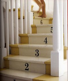 Numbered stair risers...use decals for numbers.