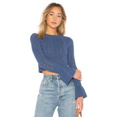 Tularosa x REVOLVE Bedford Sweater ($86) ❤ liked on Polyvore featuring tops, sweaters, sweaters & knits, blue cropped sweater, flared sleeve top, blue pullover sweater, cropped pullover sweater and bell sleeve sweater