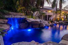 Night view of Lagoon Pool