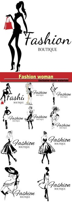 Fashion boutique logo with black and white woman silhouette hand drawn vector illustration