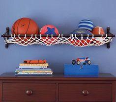Prateleira de rede para bolas
