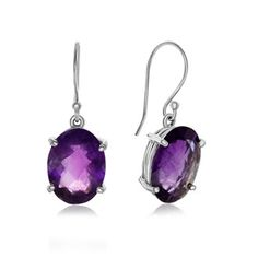 19 Carat Oval Natural Amethyst Dangle Earrings In Sterling Silver