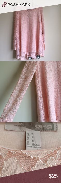 NWT Forever 21 long-sleeve dress NEW WITH TAGS pink long-sleeve dress from Forever 21. Lace material. Note: Forever 21 Contemporary tends to run a bit bigger. Forever 21 Dresses Long Sleeve